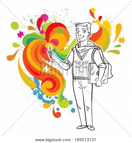 Artist-designer with laptop and stylus. Funny cartoon character. Vector illustration. Isolated on white background. Coloring book. Black and white person on the background multicolored abstraction