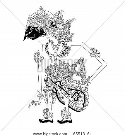 Dasarata, a character of traditional puppet show, wayang kulit from java indonesia.
