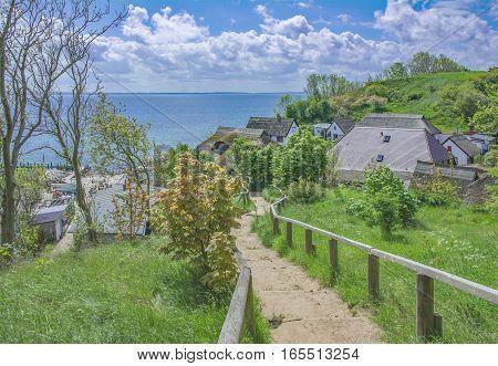 idyllic traditional Village of Vitt at Kap Arkona on Ruegen Island,baltic Sea,Mecklenburg western pomerania,Germany poster