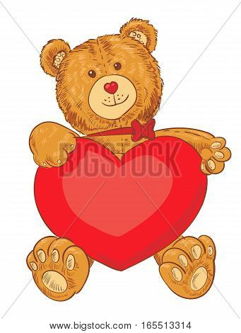 Toy teddy bear holding a heart. Funny cartoon character. Vector illustration. Isolated on white background