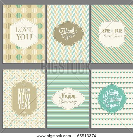 greeting card template, typographic design with ornaments and vintage frame on geometric pattern background design for happy new year, birthday, invitation, anniversary celebration, flat design