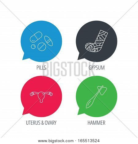 Colored speech bubbles. Hammer, broken leg and medical pills icons. Uterus and ovary linear sign. Flat web buttons with linear icons. Vector