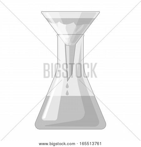 Filtration of water solution in a conical flask icon in monochrome design isolated on white background. Water filtration system symbol stock vector illustration.