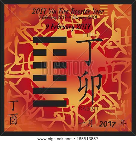 Symbol of i ching hexagram from chinese hieroglyphs. Translation of 12 zodiac feng shui signs hieroglyphs- fire and rabbit. I ching calendar of 2017 year with feng shi elements.