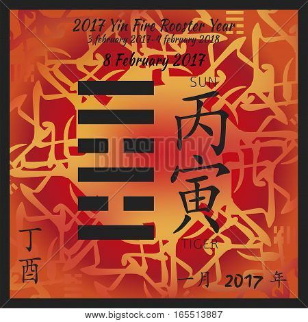 Symbol of i ching hexagram from chinese hieroglyphs. Translation of 12 zodiac feng shui signs hieroglyphs- sun and tiger. I ching calendar of 2017 year with feng shi elements.