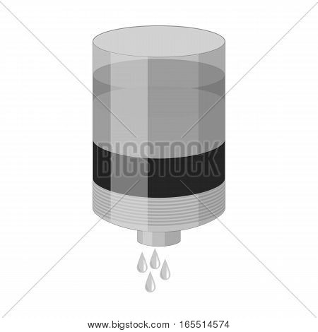Water filter cartridge icon in monochrome design isolated on white background. Water filtration system symbol stock vector illustration.