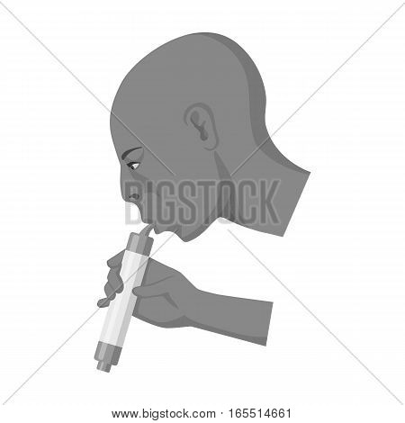 Man drink through compact filter icon in monochrome design isolated on white background. Water filtration system symbol stock vector illustration.