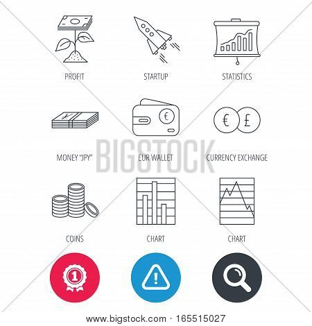 Achievement and search magnifier signs. Profit investment, cash money and startup rocket icons. Wallet, currency exchange and euro linear signs. Chart, coins and statistics icons. Vector