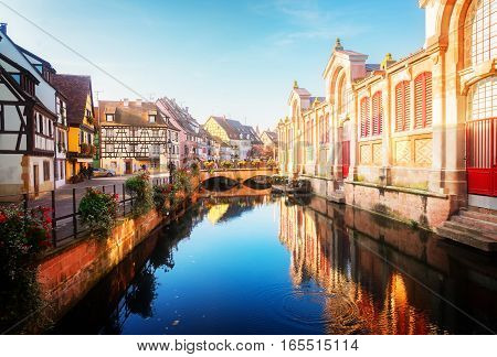 canal of Colmar, beautiful town of Alsace, France, toned