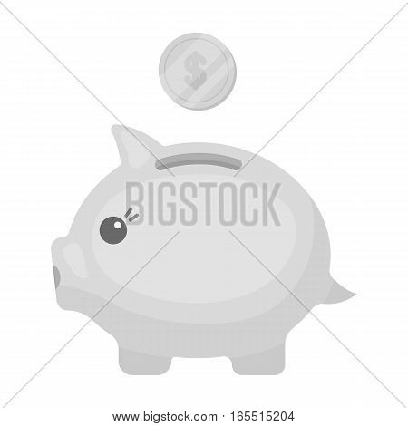 Donation piggybank icon in monochrome design isolated on white background. Charity and donation symbol stock vector illustration.
