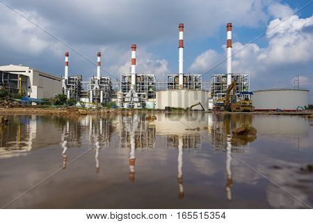 Reflection or mirror image of Themal power plant