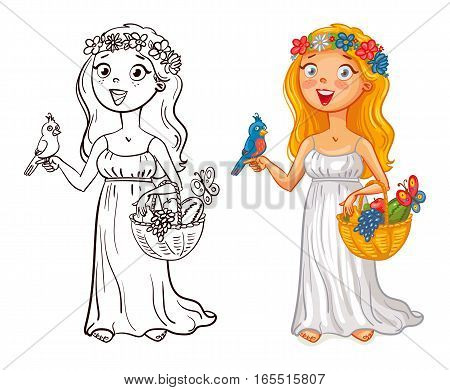 Flora (deity). Young girl in a wreath with bird and fruit basket. Funny cartoon character. Vector illustration. Isolated on white background. Coloring book. Color and black and white image