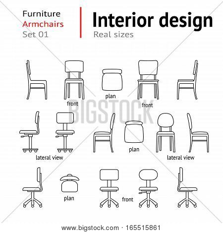 Architectural thin line icons set. Furniture. Seats, chairs, armchairs. Interior elements. Plan, front, lateral views. Office facility. Standard size. Vector