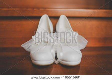 Wedding shoes white with. Wedding decor and beauty