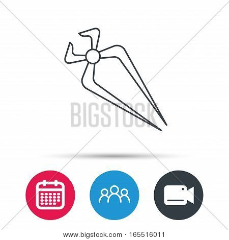 Nippers icon. Repairing service tool sign. Group of people, video cam and calendar icons. Vector