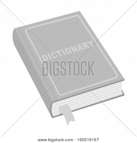 Dictionary icon in monochrome design isolated on white background. Interpreter and translator symbol stock vector illustration.