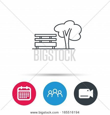 Public park icon. Tree with bench sign. Group of people, video cam and calendar icons. Vector