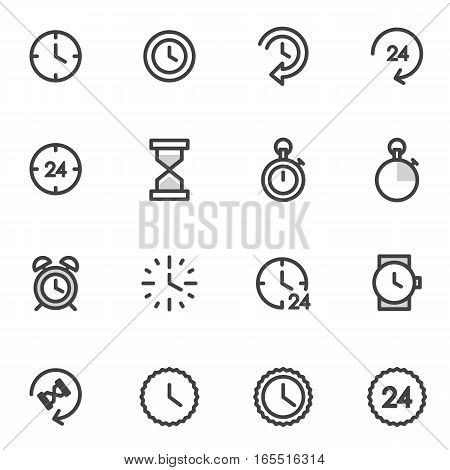 vector set of utline icons indicating the time, time management, timer, alarm clock.