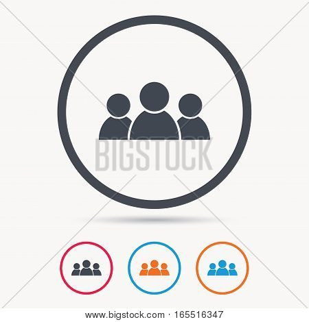 People icon. Group of humans sign. Team work symbol. Colored circle buttons with flat web icon. Vector