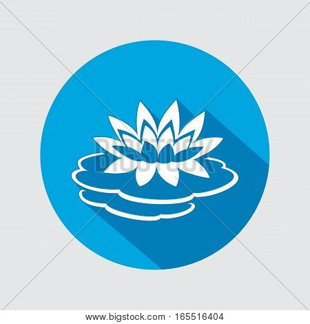 Lily flower icon. Water-lilies, waterlily floral symbol. Round circle flat sign with long shadow. Vector