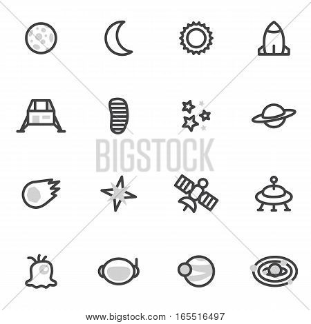 Set of vector icons and logos space, stars, planets, universe, rocket, satellite on a white background.