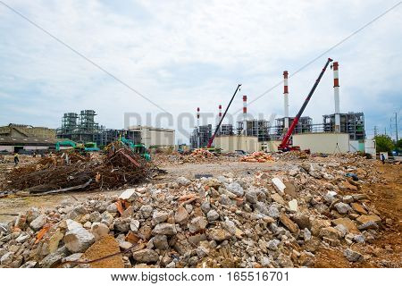 Demolition site or construction site of power plant