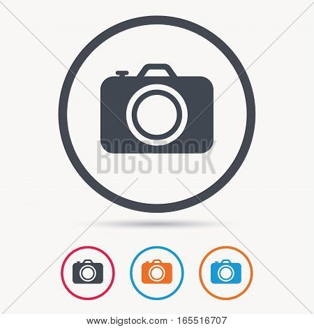 Camera icon. Professional photocamera symbol. Colored circle buttons with flat web icon. Vector