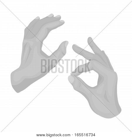 Sign language icon in monochrome design isolated on white background. Interpreter and translator symbol stock vector illustration.