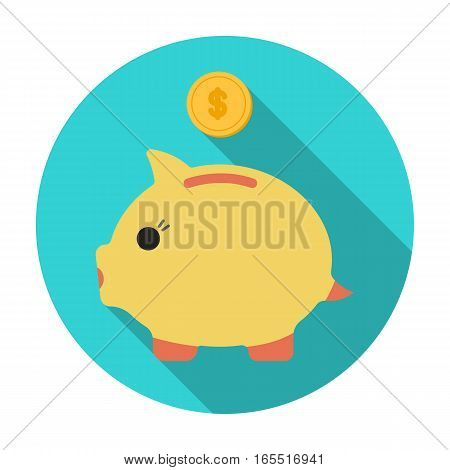 Donation piggybank icon in flat design isolated on white background. Charity and donation symbol stock vector illustration.