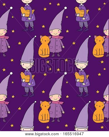 Seamless pattern with cute gnome, cat and bird. Vector illustration for children design. Funny elves.