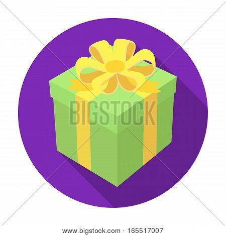 Gift icon in flat design isolated on white background. Charity and donation symbol stock vector illustration.