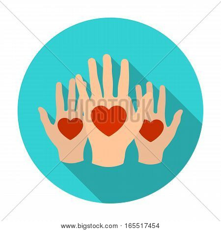 Hands up with hearts icon in flat design isolated on white background. Charity and donation symbol stock vector illustration.