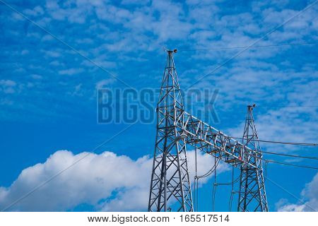 High voltage pole of power plant or substation