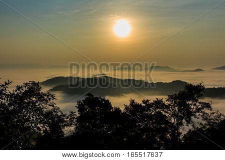 the morning in the mist of winter in Phu bo bit Loei Thailand