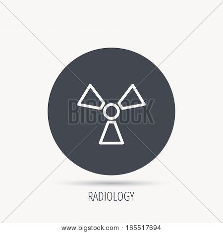 Radiation icon. Radiology sign. Round web button with flat icon. Vector