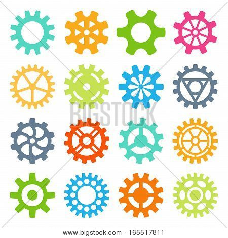 Gear icons isolated vector illustration. Mechanics web development shape work cog sign. Engine wheel equipment machinery element. Circle turning technical tool.