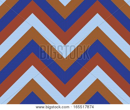 Striped, zigzagging seamless pattern. Zig-zag line texture. Stripy geometric background. Blue, orange, sepia contrast colored. Vector