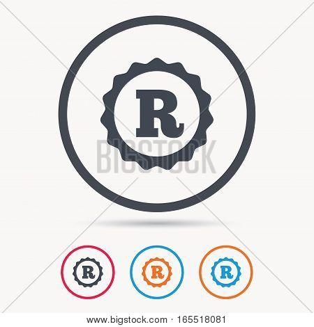 Registered trademark icon. Intellectual work protection symbol. Colored circle buttons with flat web icon. Vector