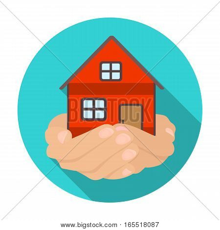 Property donation icon in flat design isolated on white background. Charity and donation symbol stock vector illustration.