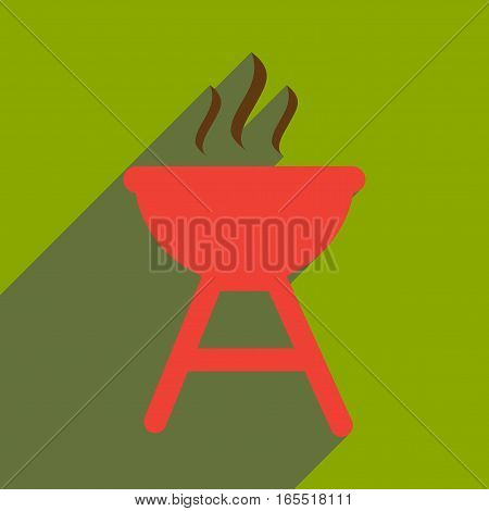 flat icon with long shadow American BBQ