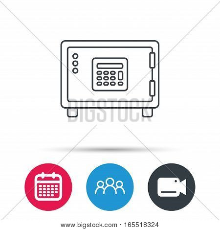 Safe icon. Money deposit sign. Combination lock symbol. Group of people, video cam and calendar icons. Vector