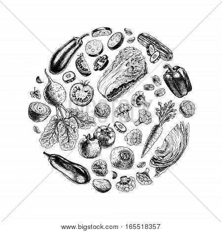 Vector circle of vegetables. Black and white round sketch. Vegan food. Design for background. Carrot pepper broccoli eggplant cucumber cabbage beets tomato cauliflower. Vector illustration.