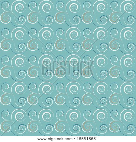 Seamless spiral pattern. Swirl, twirl lines texture. Waves, snowstorm, wind theme background. Blue, white, red colors. Vector illustration