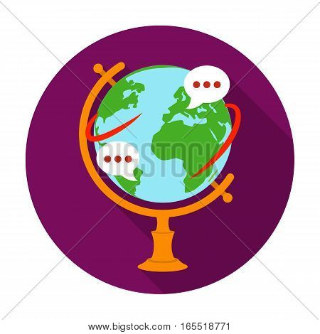 Globe of various languages icon in flat design isolated on white background. Interpreter and translator symbol stock vector illustration.