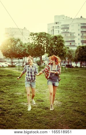 Young Happy Beautiful Best Friends Girls