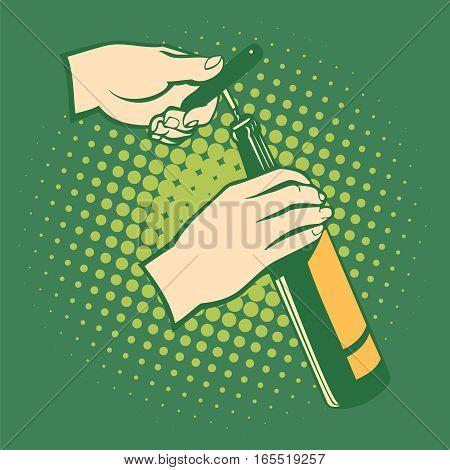 Opener bottles, hand holds corkscrew. Pop art retro style