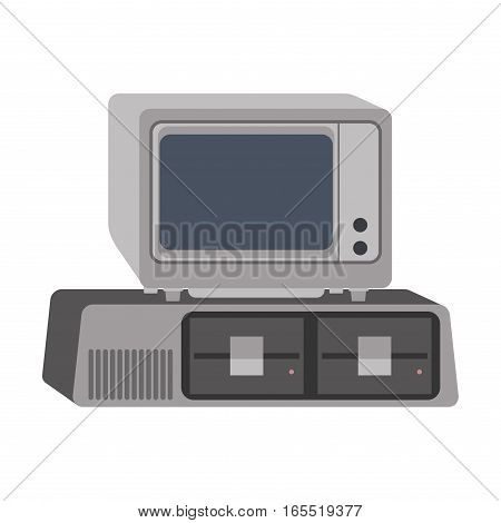 Computer technology vector isolated display. Telecommunication equipment metal pc monitor frame modern office network. Old device electronic space.