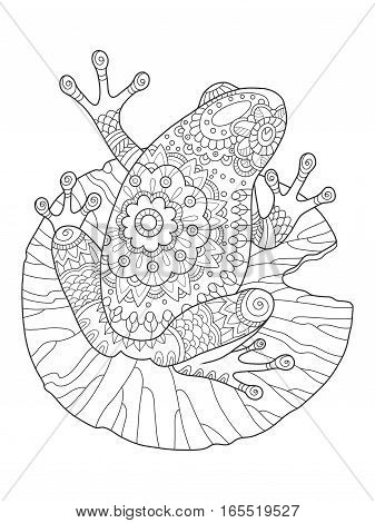 Frog coloring book vector illustration. Anti-stress coloring book for adult. Tattoo stencil. Black and white lines. Lace pattern