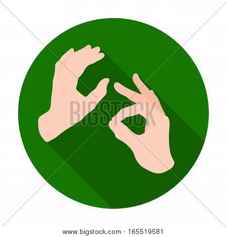 Sign language icon in flat design isolated on white background. Interpreter and translator symbol stock vector illustration.