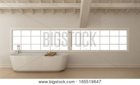 Scandinavian white bathroom loft minimalistic interior design, 3d illustration